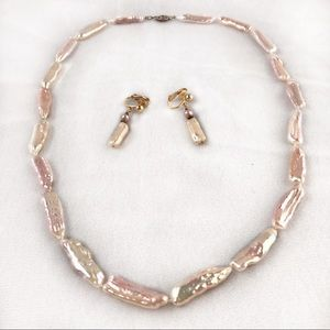 Vintage Natural Baroque Pearl Necklace/Earrings ME
